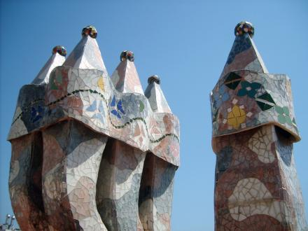 Mosaic chimneys of Casa Batllo by Martin Corel - Public Domain